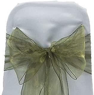 VDS - 50 PCS Elegant Organza Chair Bow Sashes Bows Ribbon Tie Back sash for Wedding Party Banquet Decor - Olive Green