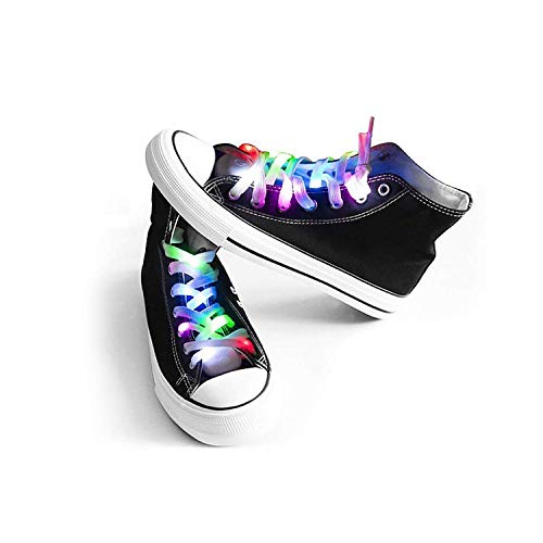Bslite LED Light Multicolor Shoelaces Battery Powered Nylon Shoestring Lighting with Flashing Led (1Pairs)