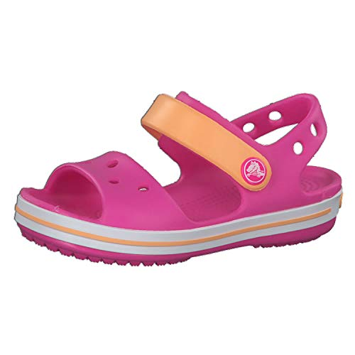 crocs Unisex-Kinder Crocband Kids Outdoor Sandals, Rosa(Electric Rosa/Cantaloupe), C13 (30/31EU)