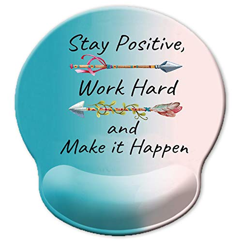 ITNRSIIET [30% Larger] Ergonomic Mouse Pad with Gel Wrist Rest Support, Stay Positive Work Hard and Make It Happen Arrow Print Inspirational Quote Cute Blue Gradient Mouse Pad, Pain Relief
