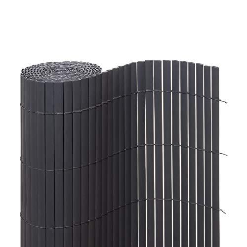 Ventanara Sichtschutzmatte PVC Sichtschutzzaun Sichtschutz Windschutz für Garten Balkon Terrasse (90 x 500 cm, Grau)