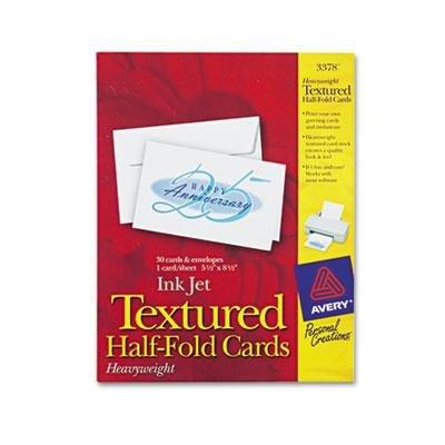 Avery - 3 Pack - Textured Half-Fold Greeting Cards Inkjet 5-1/2 X 8-1/2 Wht 30/Bx W/Envelopes