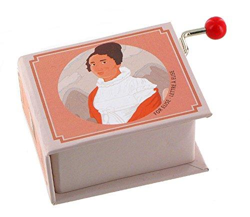 Boîte à musique à manivelle en carton renforcé en forme de livre - Pour Elise - La lettre à Elise (L. V. Beethoven).