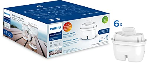 Phillips - AWP212 - Filtro de agua Micro X Clean, Cartuchos para filtración de agua, Compatible con jarras Philips y principales marcas, cartucho Oval - Pack 5+1