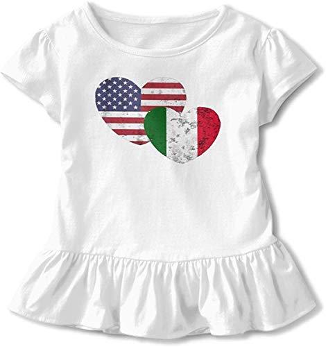 Italienische Flagge Love Kleinkind Baby Mädchen Kleid Cozy Rüschen T-Shirt Kurzarm für 2-6 Jahre Gr. 5-6 Jahre, weiß