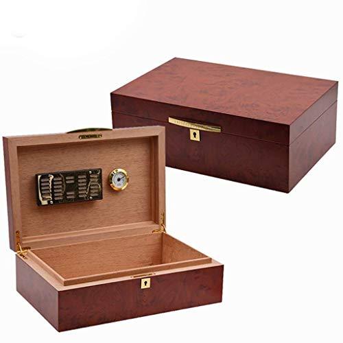 APcjerp Personalisierte Teakholz-Holzmaserung Papier Zigarren-Humidor Mellow Cedar Holz Box Portable Zigarren-Humidor Zigarren-Speicher