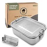 homeAct Lunchbox Edelstahl auslaufsicher 800ml | Austauschdichtung & Flexibler Trennsteg | Jausenbox Brotdose für Schule, Uni, Arbeit und Camping