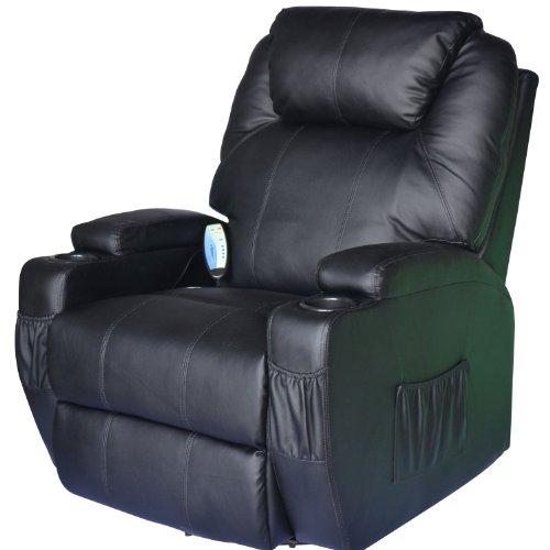 HOMCOM Poltrona Dondolo da Massaggio Poltrona Massaggiante Reclinabile a 8 punti Girevole a 360°in Simipelle 84 x 92 x 109cm Nero