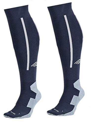 Just Rider Football Socks, Stockings for Men & Women, Knee High Length Superior Grip for Shin Guard, Anti Slip Blister Protection Anti Odour (Navy Blue With White)