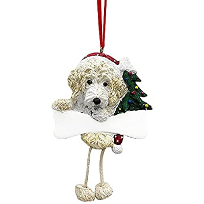 """Labradoodle Ornament with Unique """"Dangling Legs"""" Hand Painted and Easily Personalized Christmas Ornament by E&S Imports, Inc"""