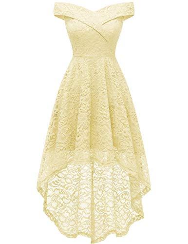 HomRain Damen Elegant Hochzeit Spitzenkleid Schulterfrei Rockabilly Kleid Cocktail Abendkleider Vokuhila Schwingen Brautjungfernkleider Gelb Yellow XS