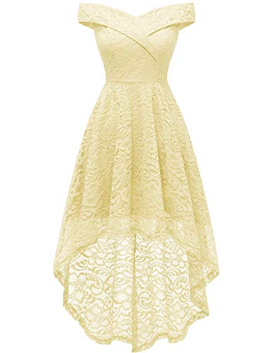 Homrain Women's Vintage Floral Lace Off Shoulder Hi-Lo Wedding Cocktail Formal Swing Dress Yellow M