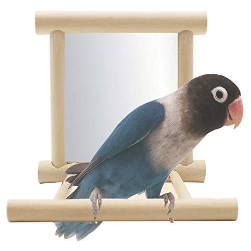 Neborn - Divertido Juguete de Madera con Forma de pájaro, para Loros, periquitos, pájaros, Espejos, Jaula