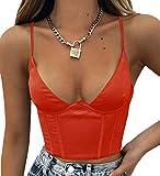 SAFRISIOR Women Spaghetti Strap V Neck Bustier Corset Top Sleeveless Slim Sexy Crop Cami Top Clubwear Party Crop Top Outwear (Medium, Red)