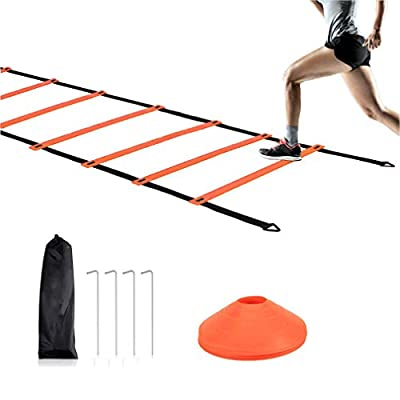 Agility Ladder Training Set, 12Rung 20ft Speed Ladder Football Training Equipment Kit with 10 Cones and 4 Stakes, Workout Exercise Sports Soccer Running Training Tools for Kids and Adults (Orange)