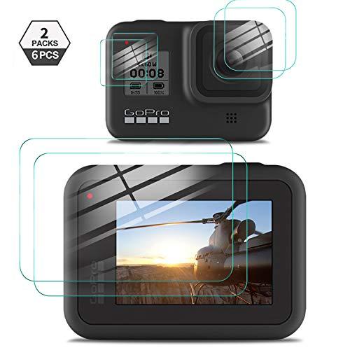 Yocktec Panzerglasfolie Displayschutzfolie für GoPro Hero 8 Black, [2 Packungen] [6 Stück] gehärtetes Glas mit [9H Härte] [Crystal Clear] [Kratzfestigkeit] für GoPro HERO8 Black
