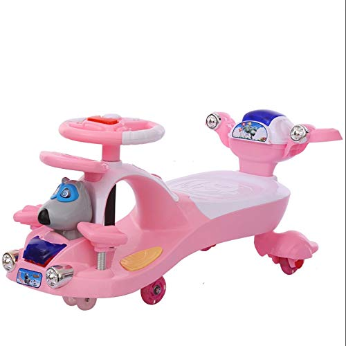 Moolo Kinder Twist Car, Kinder Spielzeugschaukel Auto 1-3-7 Junge/Mädchen Schiebespiele Fitness Yo Gyro Wiggle Scooter Mute Flash Rollover Prevention (Farbe : Rosa)
