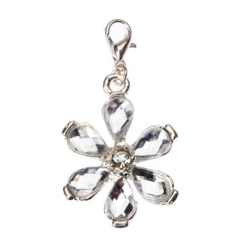Blanco plateado Flor mujer Talisman de colgante pulsera collares de VAGA