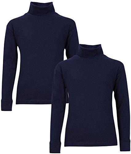 Beverly Hills Polo Club Boy's School Uniform 2-Pack Long Sleeve Turtleneck Shirts, Navy/Navy, 7'