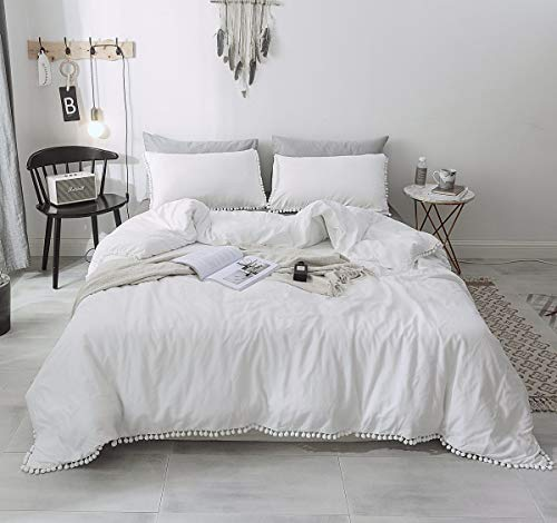 Janzaa 3 PCS Home Pom Duvet Cover Set Queen Size with Pillow Shames for Bedding Room (White, Queen)