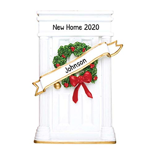Personalized Door with Wreath Christmas Tree Ornament 2020 - Our New Elegant Apartment Garnish Ribbon Red Bow Cozy 1st Front Family Mate Room White Green Neighbor Gift Year - Free Customization