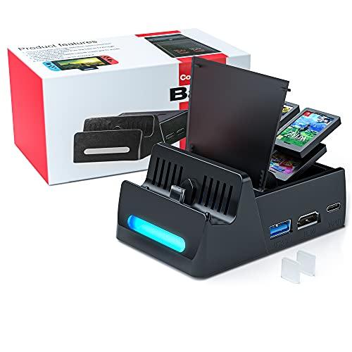 Base de carga para conmutador Base de TV de carga portátil compacta WATSABRO para conmutador, puerto de entrada de alimentación USB C, puerto USB 3.0 y soporte HDMI para conmutador