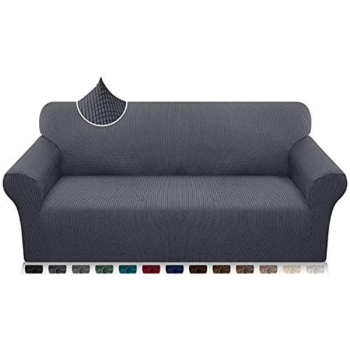 Luxurlife Funda de sofá de Alta Elasticidad Funda para Sofá Premium Súper Suave Protector de Muebles para Sala de Estar(3 Plazas,Gris)