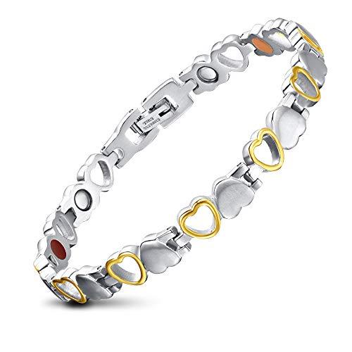 JFUME Bracciale Magnetico da Donne - Cuore Forma Braccialetto Magnetico Acciaio Colore argento e oro