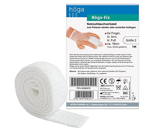 Höga Fix Netzschlauchverband, elastischer Schlauchverband zum Fixieren von Verbänden - Gr. 2 - 1 m, für Finger, Arm und Fuß. 2er-Pack.