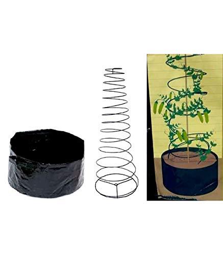 Astuceo - Jardinera y Tutor, Color Negro