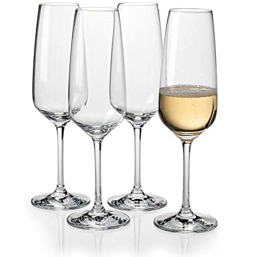 Champagne Tulip Glasses for for Chmpagne and Prosecco | Set of 6 Champagne Flutes | Champagne Glasses with Perfect Stems and Flute to Hold 21Cl. of Champagne.