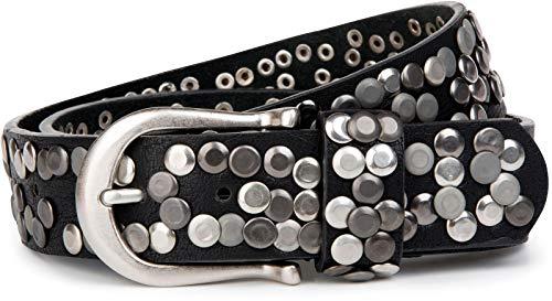 styleBREAKER Damen Nietengürtel im Vintage Style, Gürtel kürzbar, Synthetikgürtel, Gürtel, Damengürtel 03010008, Farbe:Schwarz, Größe:105cm