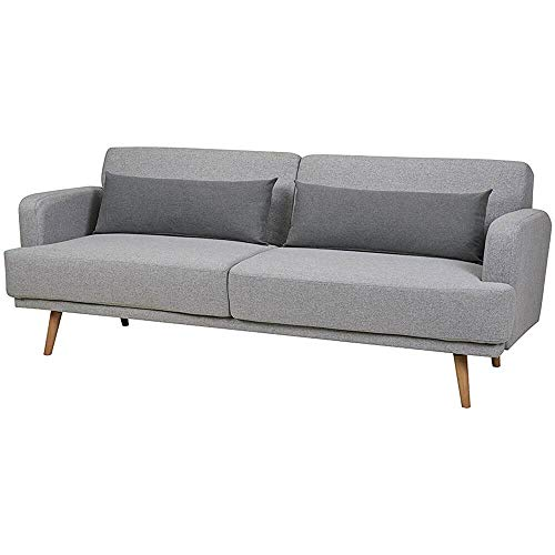 Alvano Schlafsofa Stoff Bettsofa Sofa Couch Schlafcouch Sofabett Funktionssofa (Hellgrau)