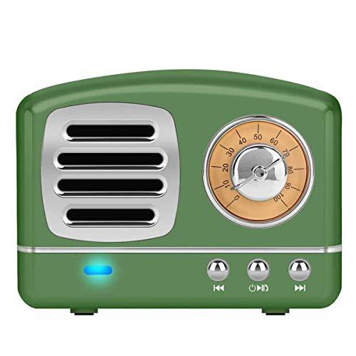 Altavoz portatil Bluetooth Vintage Mini Efecto del Sonido HiFi Envolvente estéreo 3D Bluetooth 4.1+EDR batería de Litio (Verde)