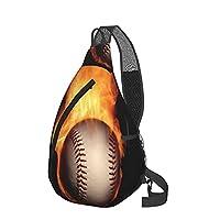 かっこいい野球 バックパック メッセンジャーバッグ チェストバッグ ポリエステル製マルチポケットジッパー開閉バッグ 旅行 ヨガ フィットネス用
