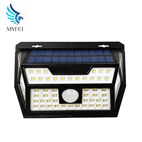 MYFEI buitenverlichting op zonne-energie, draadloos, bewegingsmelder met 120 ° groothoek, IP65 waterdicht, veiligheidslicht voor voordeur, binnenplaats, garage, dek