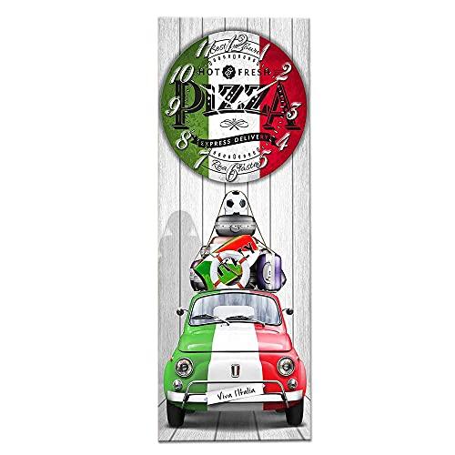 Lupia Orologio da Parete Decorativo in Legno CLOCKART con Stampa in Alta qualita' 30x80 cm 500 Pizza