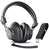 Avantree DG59(M) Wireless Gaming Headphones Set w/Detachable Boom Mic and Bluetooth USB Audio Dongle for PS4, PC, Laptop, Computer, Nintendo Switch, Chat & Music, Easy Mute, No Delay, 40hrs Play Time