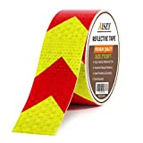 Reflective Tape Waterproof High Visibility Red & Yellow, Industrial Marking Tape Heavy Duty Hazard Caution Warning Safety Adhesive Tape Outdoor (2' X 30FT)