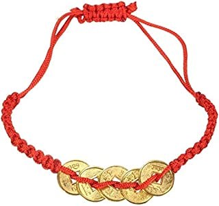 EatingBiting(R) Feng Shui Red String Lucky Coin Charm Bracelet for Good Luck & Wealth Chinese Knot Lucky Coins Feng Shui Coins Fortune Coin Bracelets