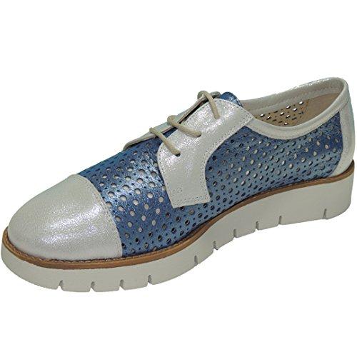 D'ALVARO 1000 Zapato Calado Cordones Piso Goma Blanca para Mujer Azul Talla 39