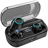 Wireless Earbuds, Bluetooth 5.0 Headphones Touch Control with Charging Case, Digital LED Display Apt-X IPX7 Waterproof CVC8.0 Built-in Mic Stereo in-Ear Earphones Premium Sound with Deep Bass Black
