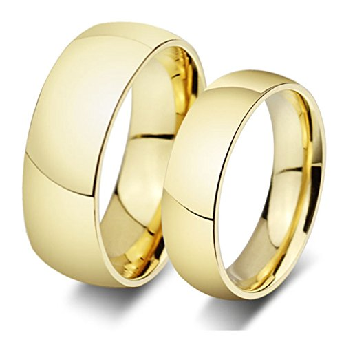 SAINTHERO Womens Forever Love Promise Couples Rings for Hers Classic Titanium Steel 18K Gold Plated Wedding Engagement Bands Size 8