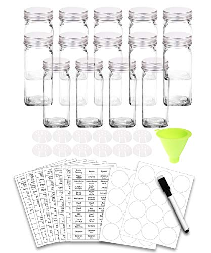 SWOMMOLY 14 Glass Spice Jars with 388 Spice Labels, Chalk Marker and Funnel Complete Set. 14 Square Glass Jars 4OZ, Airtight Cap, Pour/sift Shaker Lid