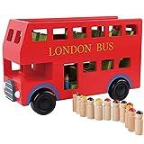 Yifuty Hölzernes Auto-Modell for Kinder Transport Großes Spielzeug Bus London Doppeldecker-Bus Boy...