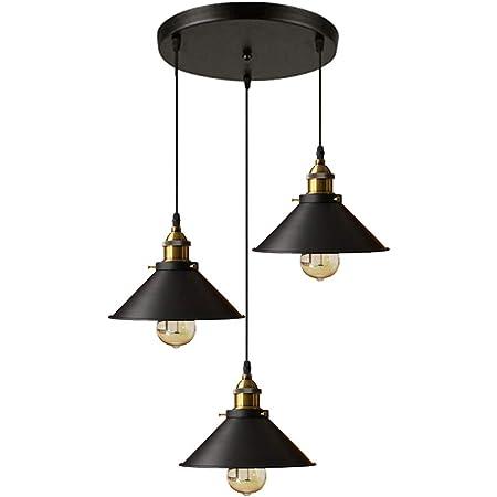 Rétro Industriel Suspension lampe Plafond 3 lumières Métal Lustre Abat-jour Edison E27 -Ø 22 cm,Noir
