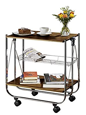 WENKO 713003100 Catering trolley Dinett Walnut - foldable, MDF, 26.8 x 27.6 x 16 inch, Shiny from Wenko