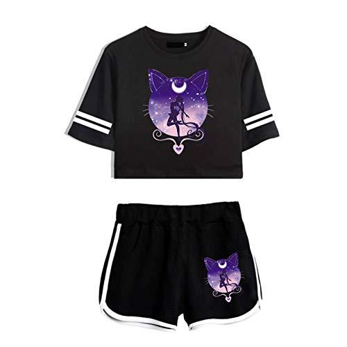 yuhiugre Sailor Moon T-Shirt und Kurze Hosen Damen Crop Top and Shorts Set Fashion Sexy Nette Grafiken Design Set für Mädchen und Damen(l Schwarzer Anzug)