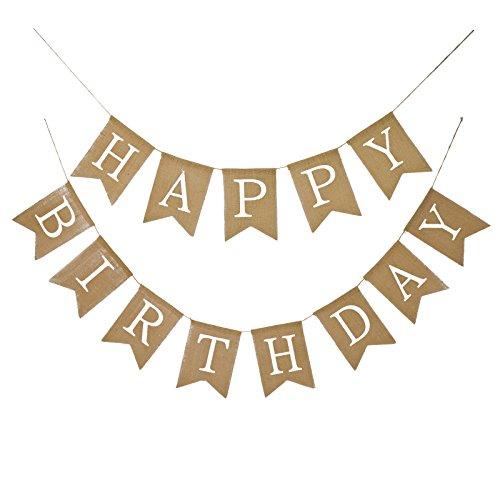 Fecedy Alphabet Happy Birthday Burlap Banner For Birthday Party Decorations (white alphabet)