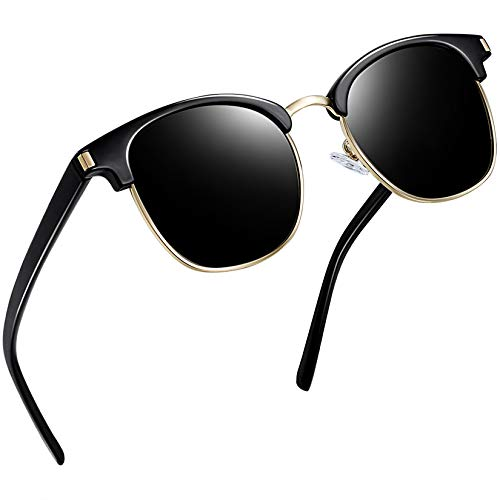 Joopin Gafas de Sol Polarizadas Hombre Media Montura con Protección UV400 Clásicas Retro Gafas para Hombre y Mujer Negro
